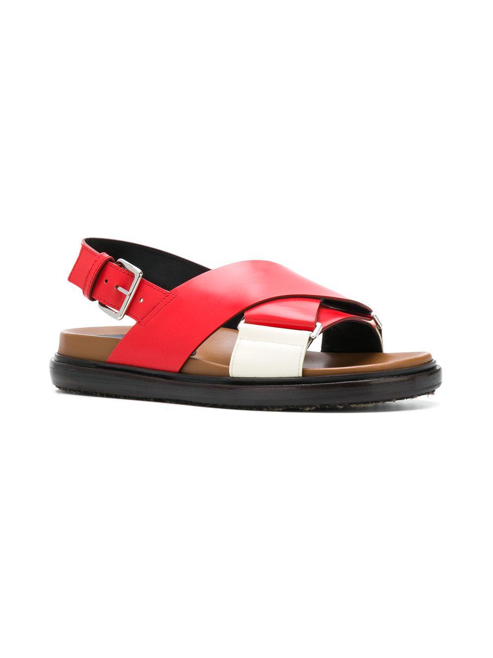 4dae3e82141 Lyst - Marni Criss-cross Fussbett Sandals in Red