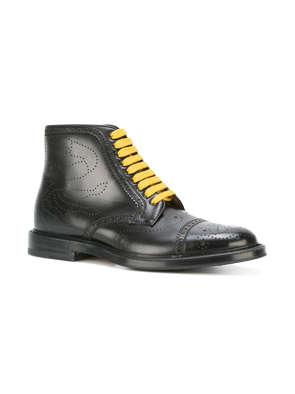 lyst gucci contrast lace boots in black for men