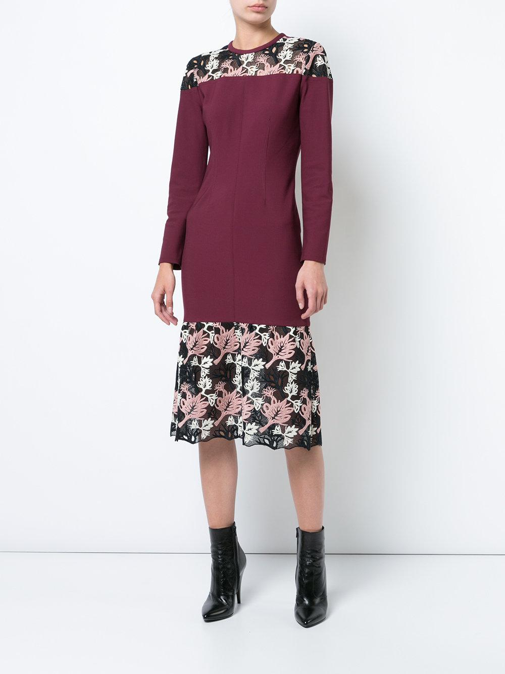 floral lace detail dress - Red Yigal Azrou?l MFyNygJ