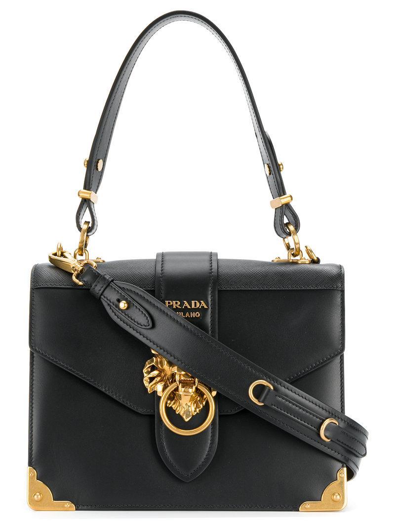 7eb597c28aca Prada Cahier Lion-embellished Shoulder Bag in Black - Lyst