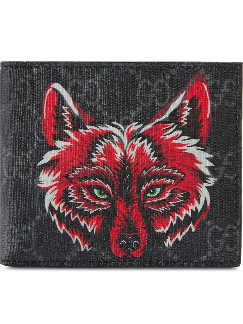 7311ef358a2 Lyst - Gucci Men s Wolf-print GG Supreme Wallet in Black for Men ...