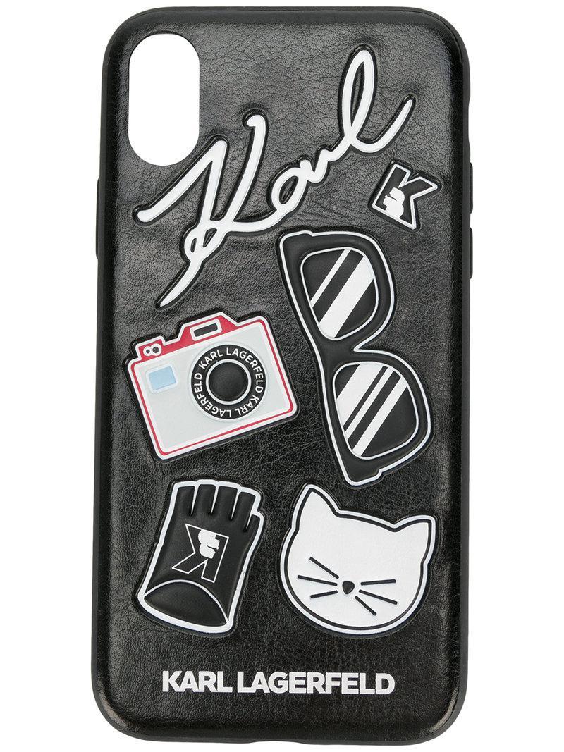 lyst karl lagerfeld k klassik pins iphone x case in black. Black Bedroom Furniture Sets. Home Design Ideas