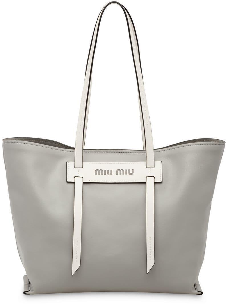 bba5e919dee5 Lyst - Miu Miu Grace Lux Tote Bag in Gray