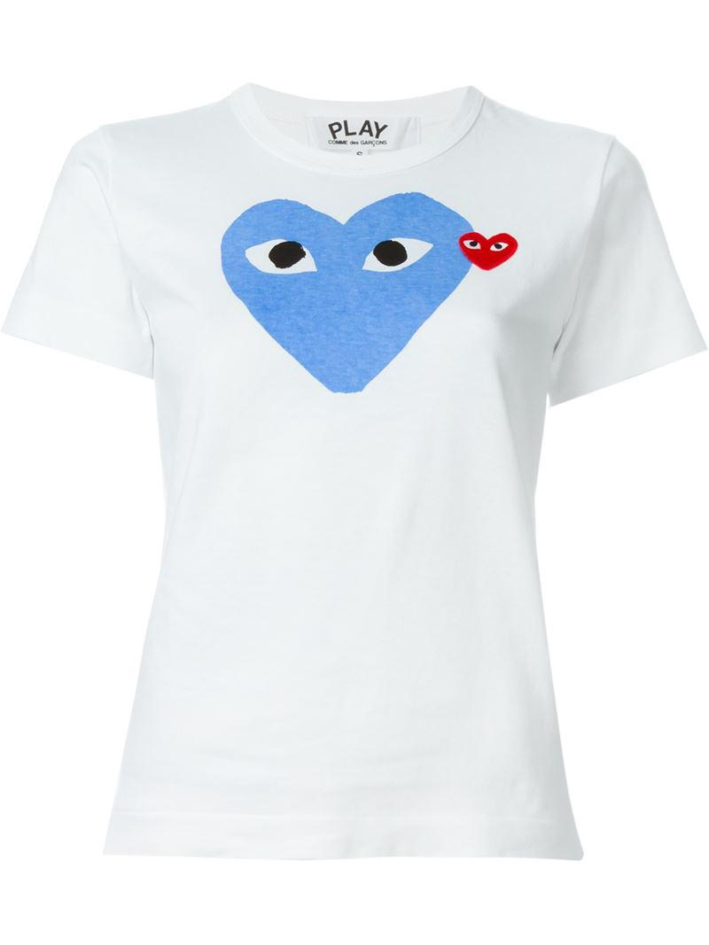 play comme des gar ons heart print t shirt in white lyst. Black Bedroom Furniture Sets. Home Design Ideas