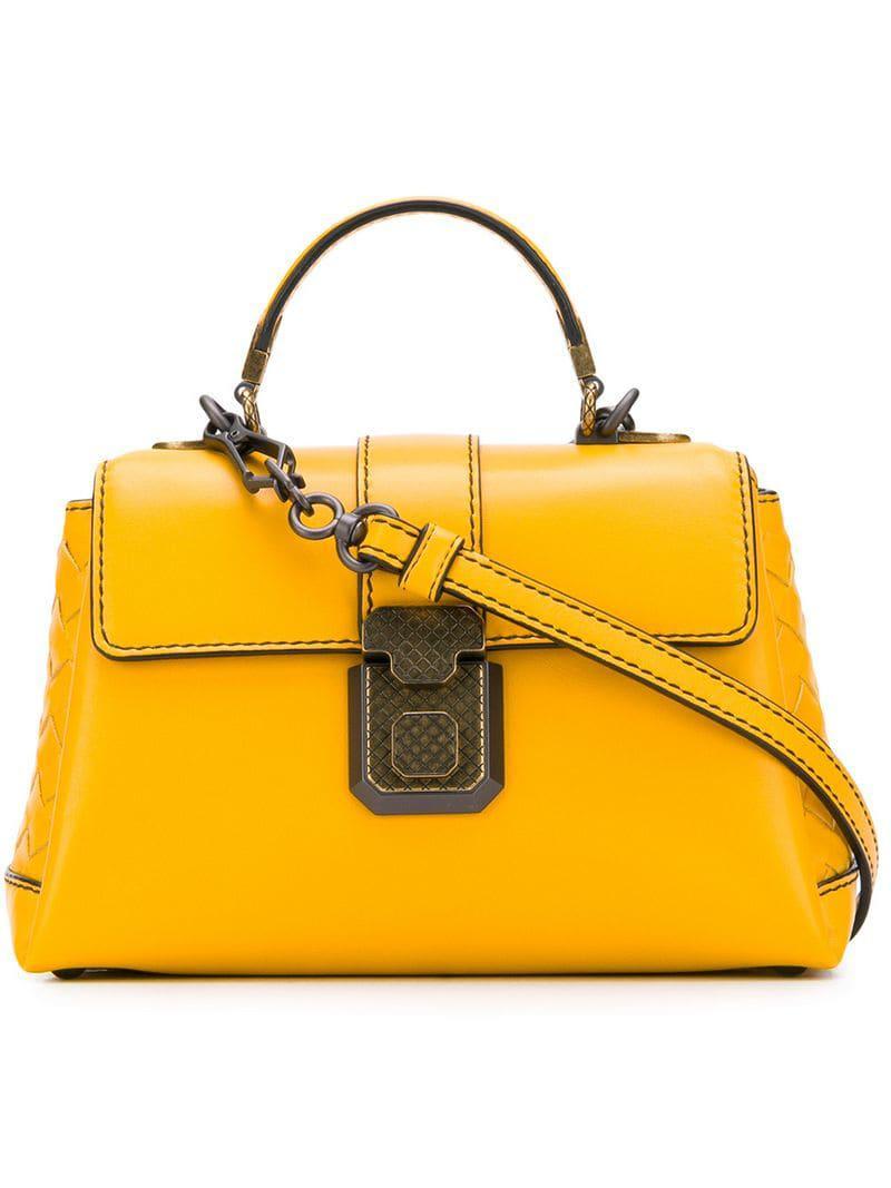 e1f081aee777 Bottega Veneta Mini Piazza Bag in Yellow - Lyst