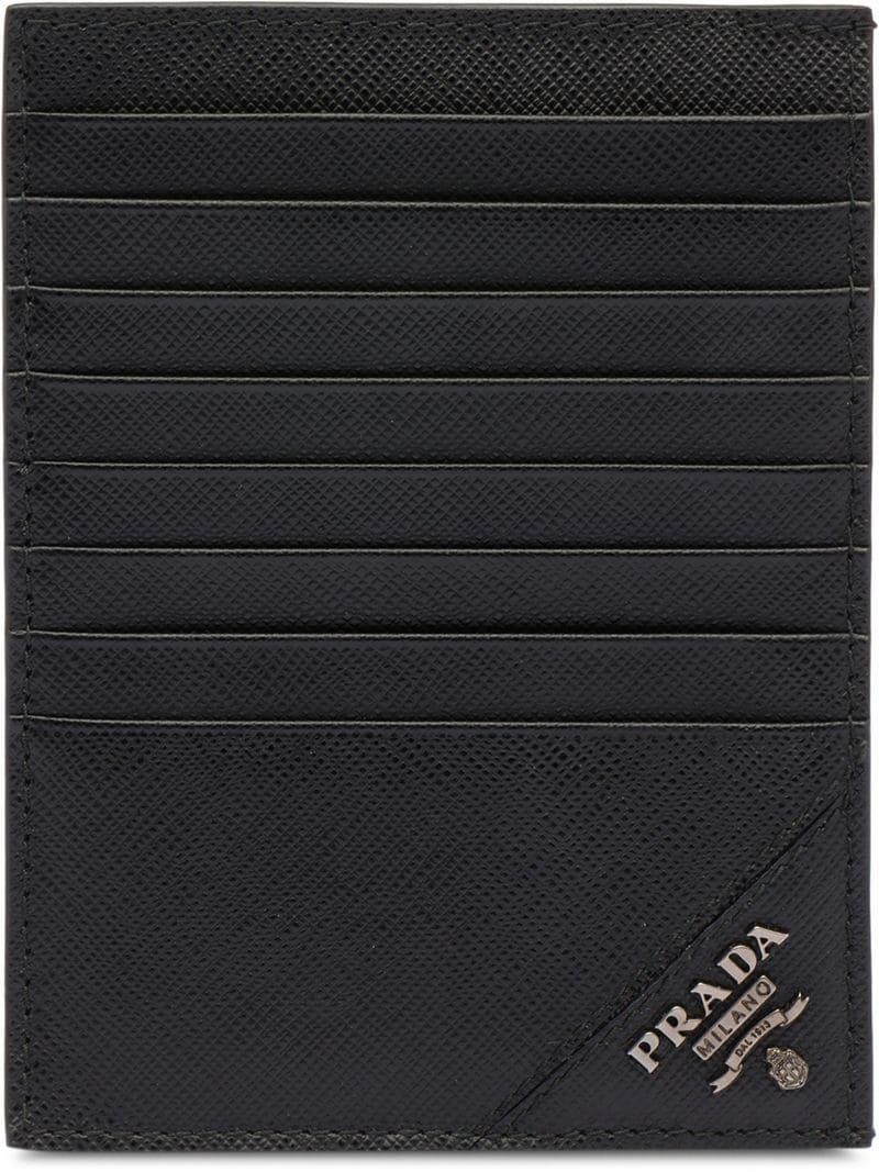 07428a0ceee Prada - Black Saffiano Leather Card Holder for Men - Lyst. View fullscreen