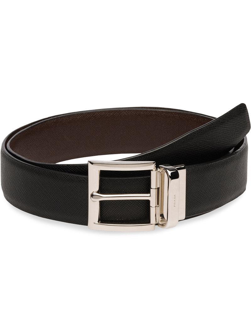b241e2d11661a Lyst - Prada Reversible Saffiano Belt in Black for Men