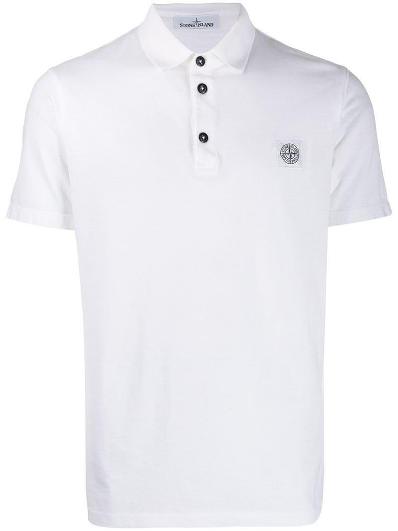 3f279b21 ... White Logo Patch Polo Shirt for Men - Lyst. View fullscreen
