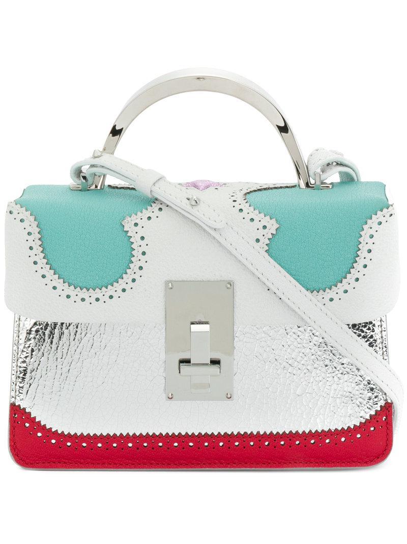 brogue detail contrast panel handbag - Metallic The Volon lT1nPA