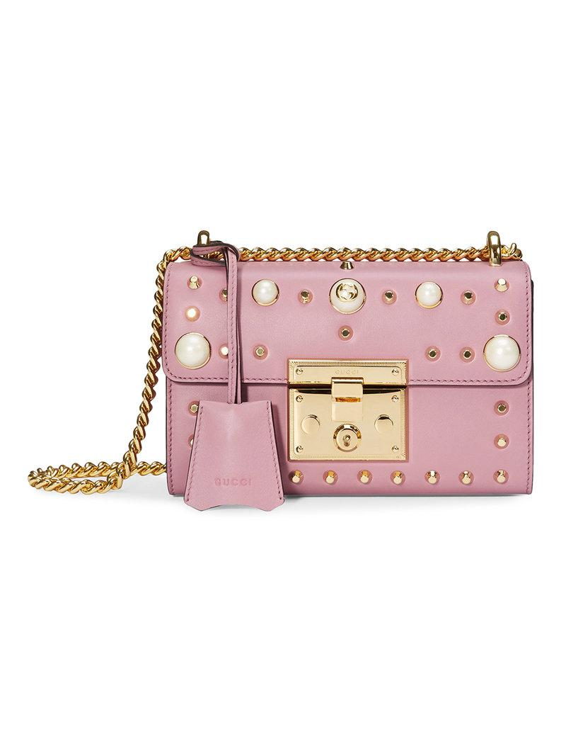 Lyst - Gucci Padlock Studded Leather Shoulder Bag in Pink 6a7e155012b2e