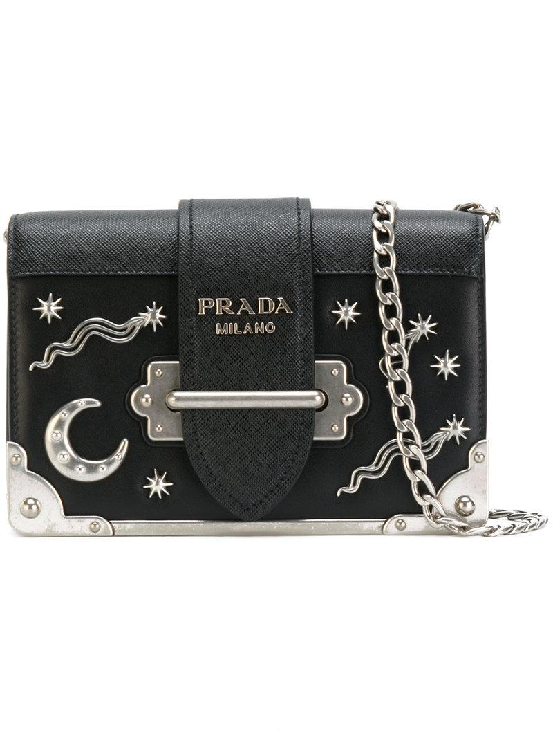 a19272317ad3ed ... coupon for lyst prada cahier moon and stars bag in black ac9b9 8abe1