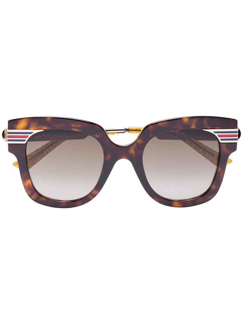 fa429d0e8c Gucci Gold Brown Havana Tortoiseshell Sunglasses in Brown - Lyst
