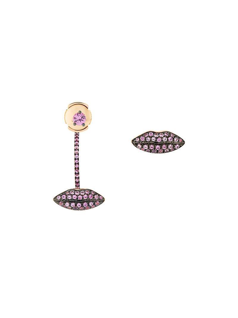 Delfina Delettrez 18kt gold Lips sapphire earrings - Metallic WrXvCjE8gv