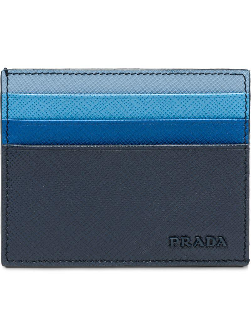 fe4af3709f87 ... reduced prada blue credit card holder for men lyst. view fullscreen  64c7e b8cff