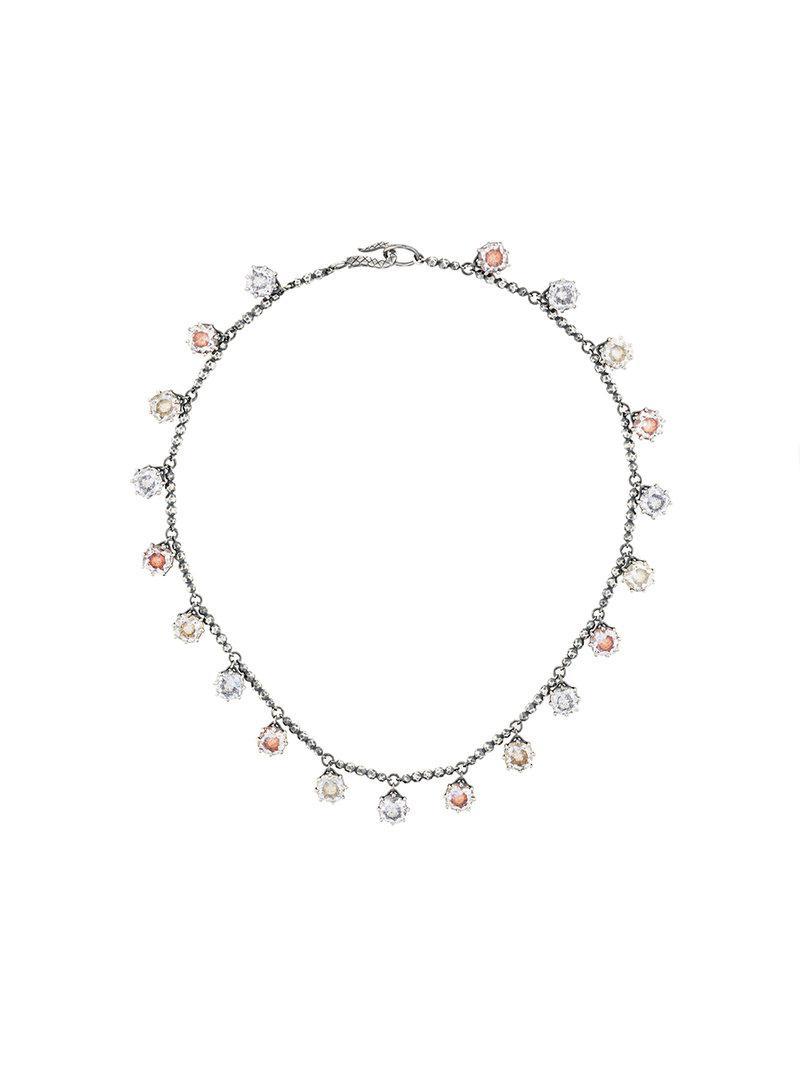 multicolour cubic zirconia oxidized silver necklace - Metallic Bottega Veneta dUW23EK4