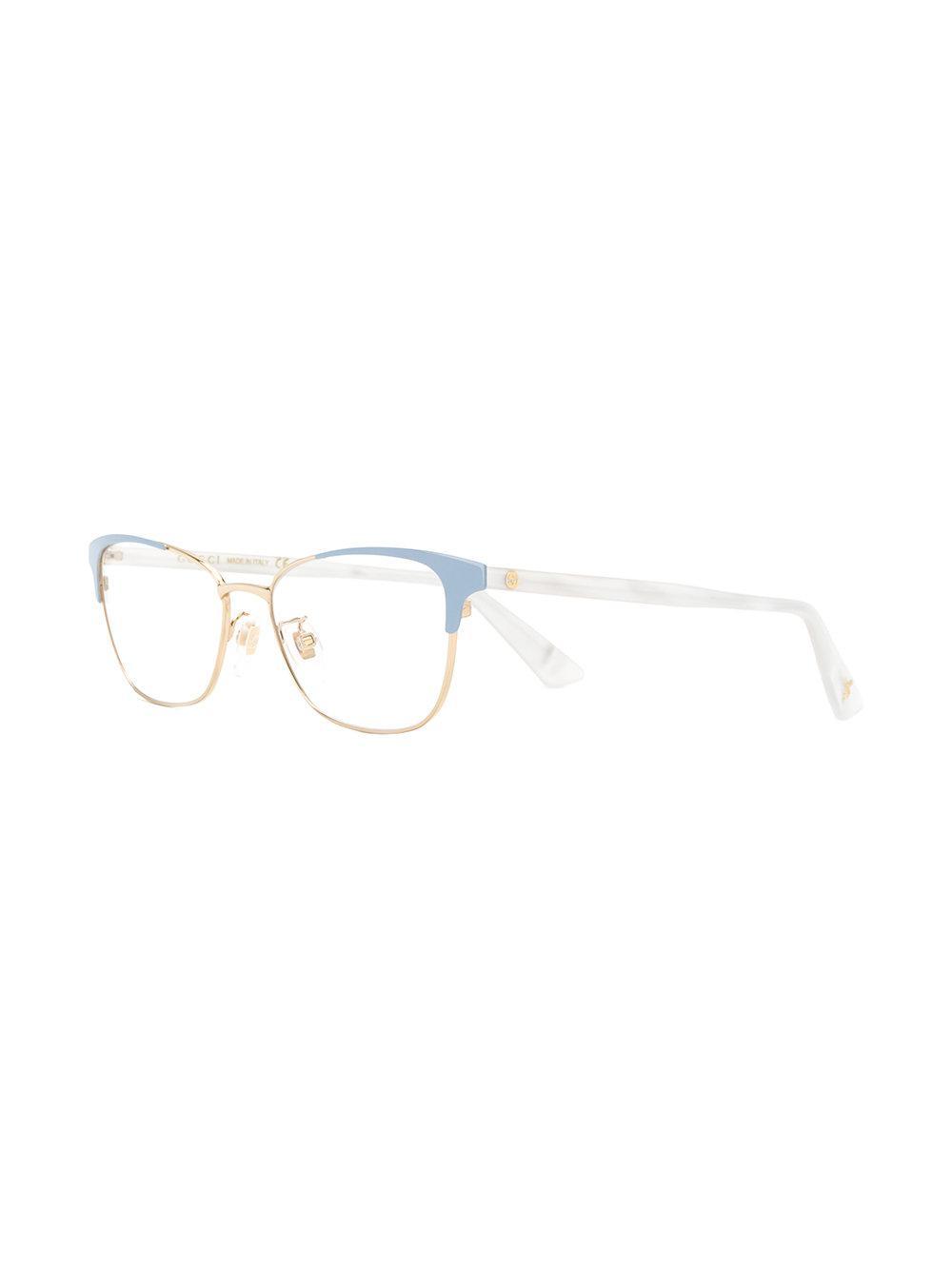 a5ebbc2214e Gucci - Metallic Cat Eye Glasses - Lyst. View fullscreen