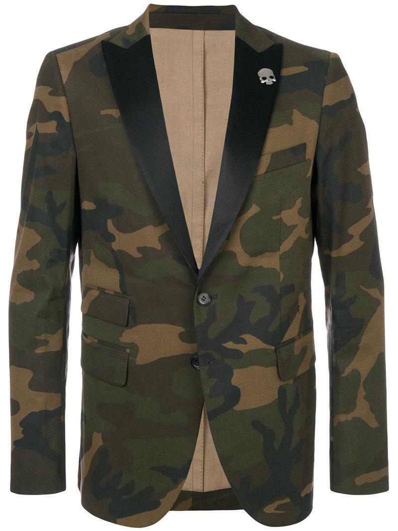84eef1ff970d0 Lyst - Hydrogen Camouflage Fitted Blazer in Green for Men