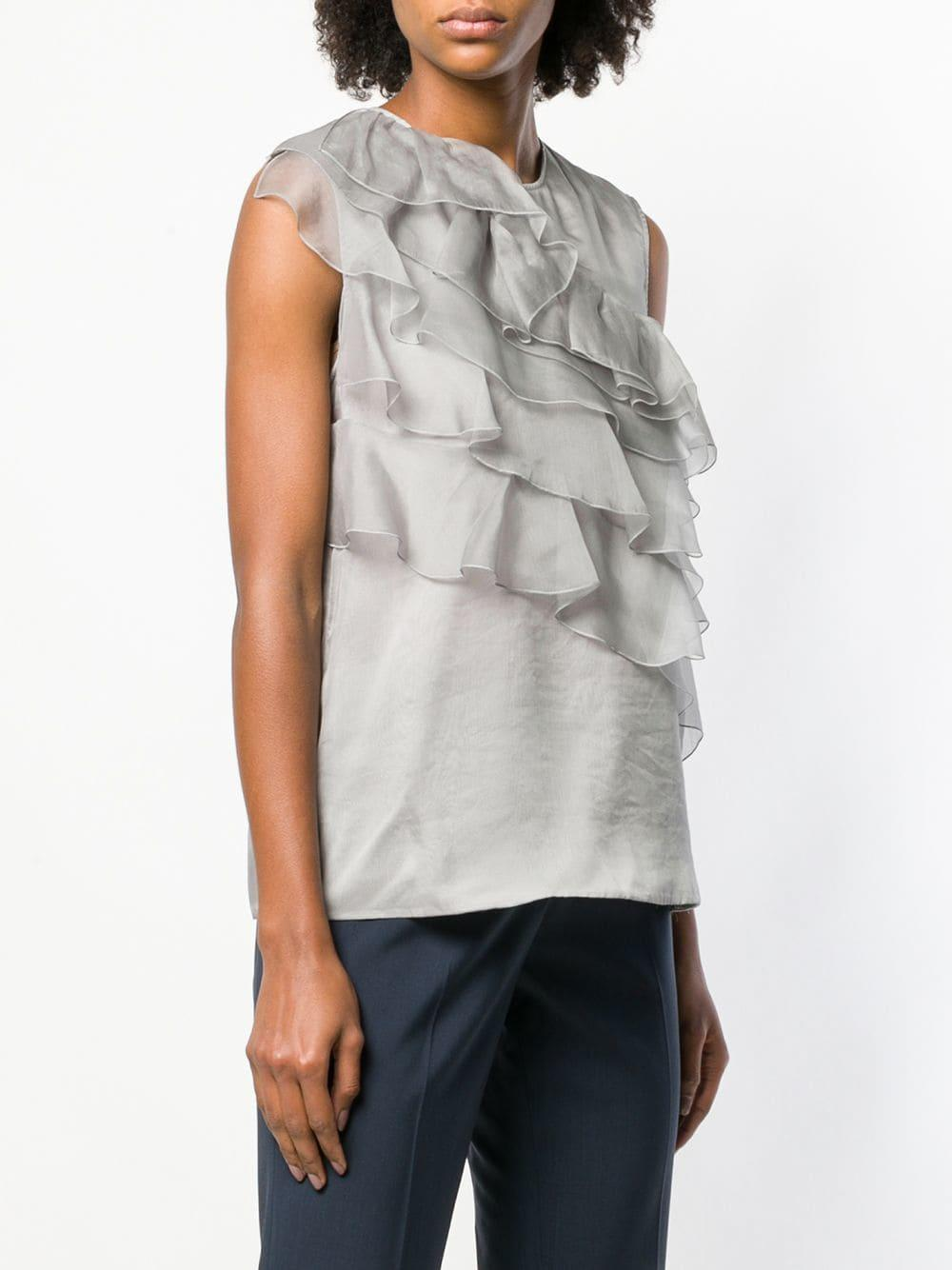 07a33fdb55d65 Fabiana Filippi - Gray Ruffle Detail Silk Blouse - Lyst. View fullscreen