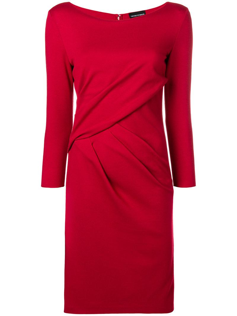 ruched fitted midi dress - Red Emporio Armani 27egkD