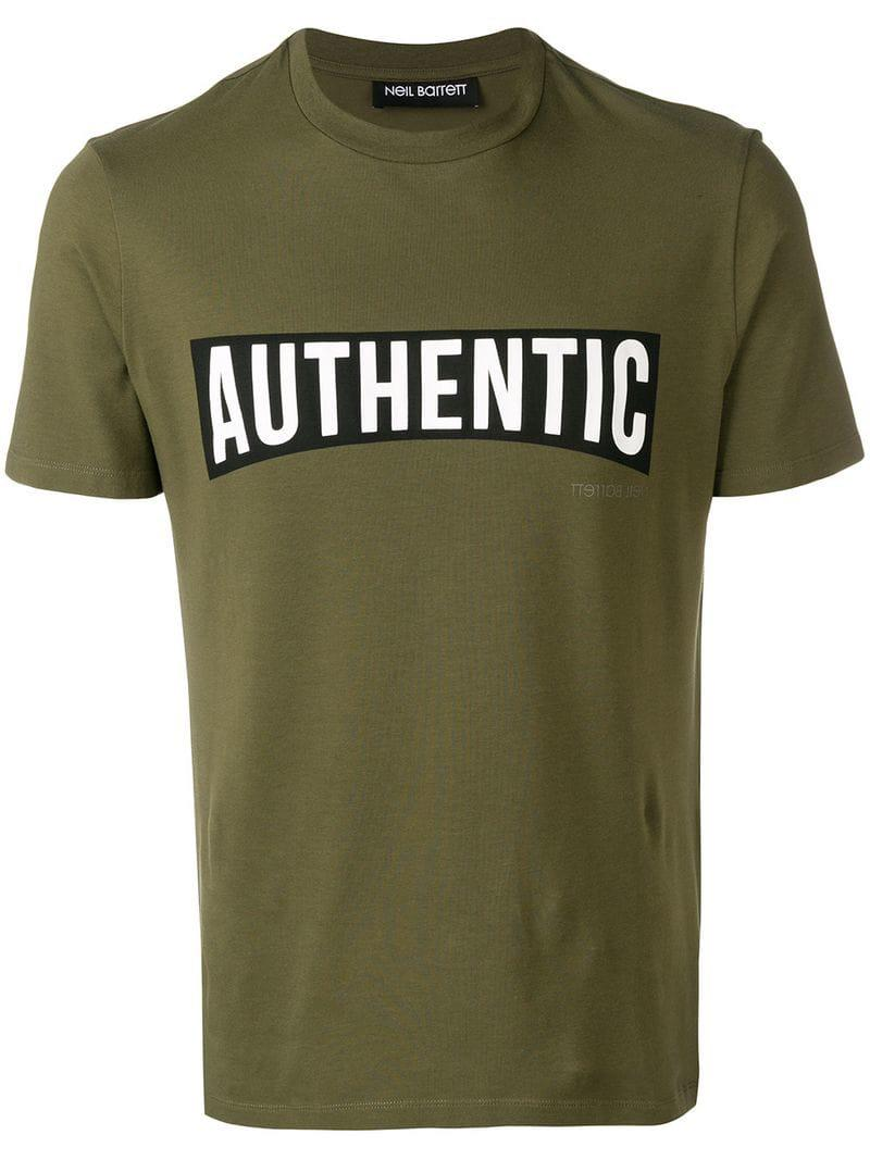 a85decdc6 Neil Barrett - Green Authentic Logo T-shirt for Men - Lyst. View fullscreen