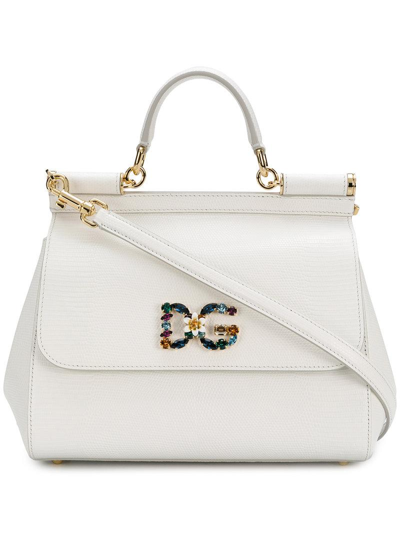 cdd7aa48085 Dolce   Gabbana Small Sicily Shoulder Bag in White - Lyst