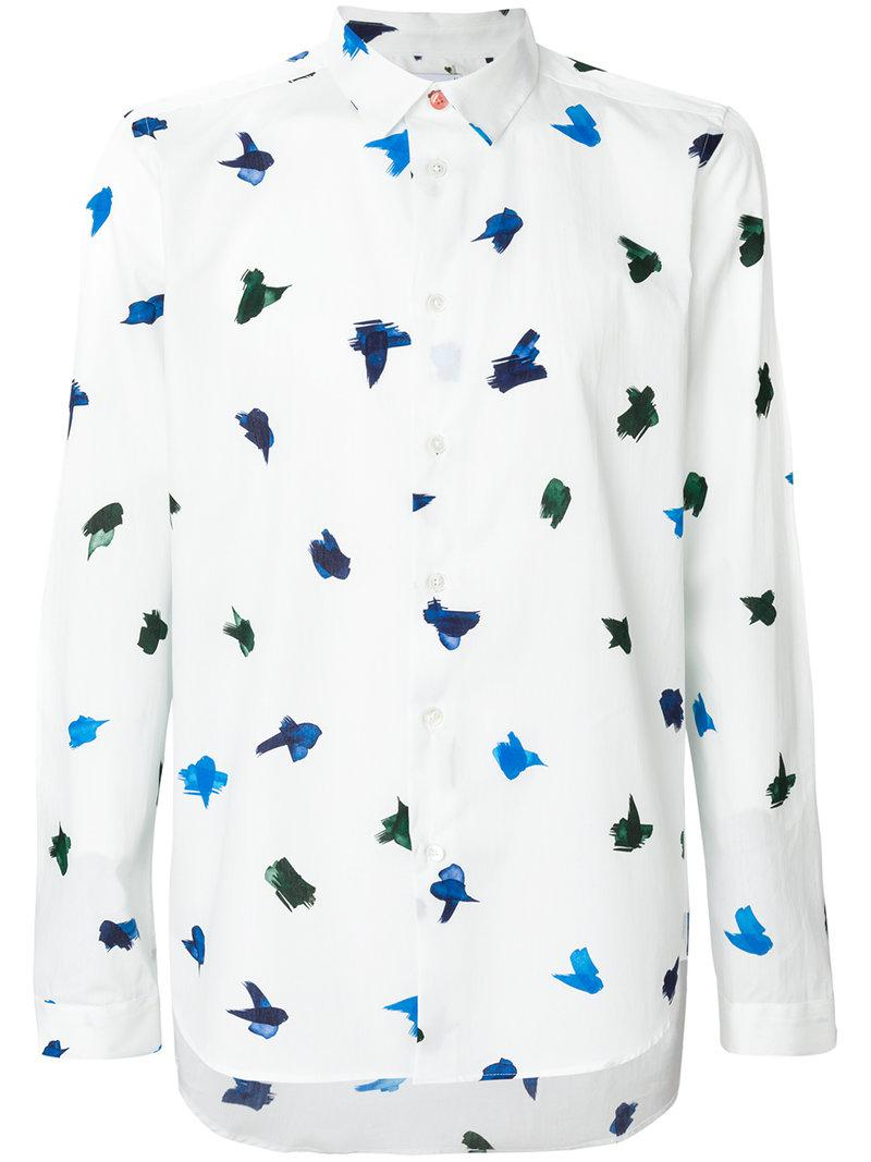 white bird men Topshop shirt size 6 blue and white bird print good condition any questions please email take a look at my other listings thanks for looking.