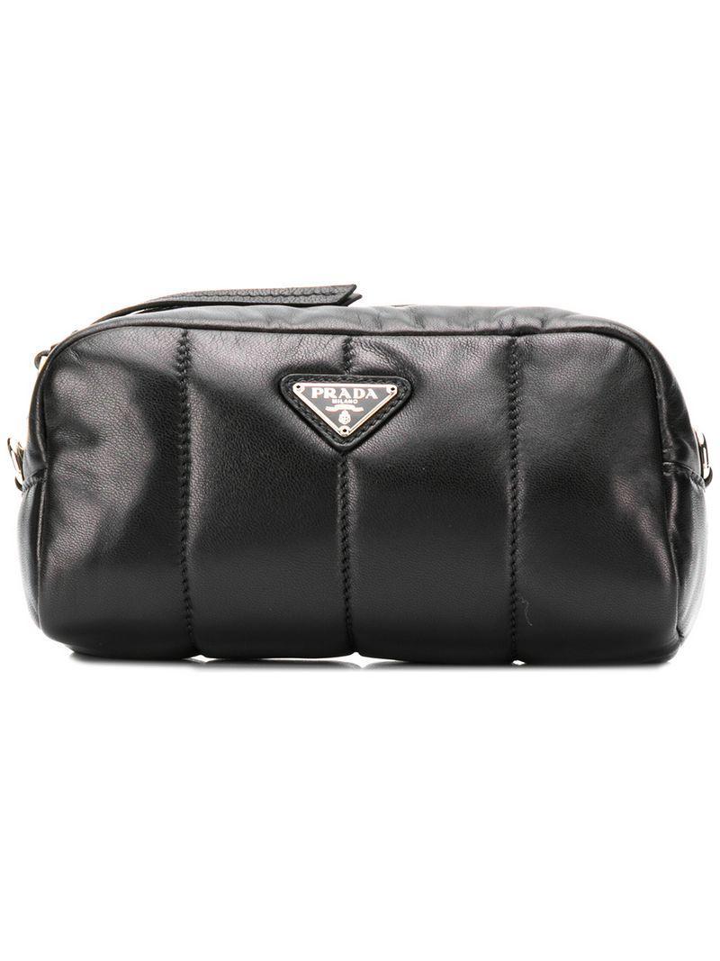 fc862f6d3c Prada - Black Logo Plaque Makeup Bag - Lyst. View fullscreen