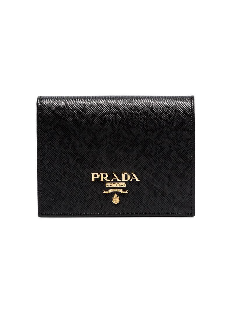 687ee441544c Prada - White Black Leather Logo Wallet - Lyst. View fullscreen