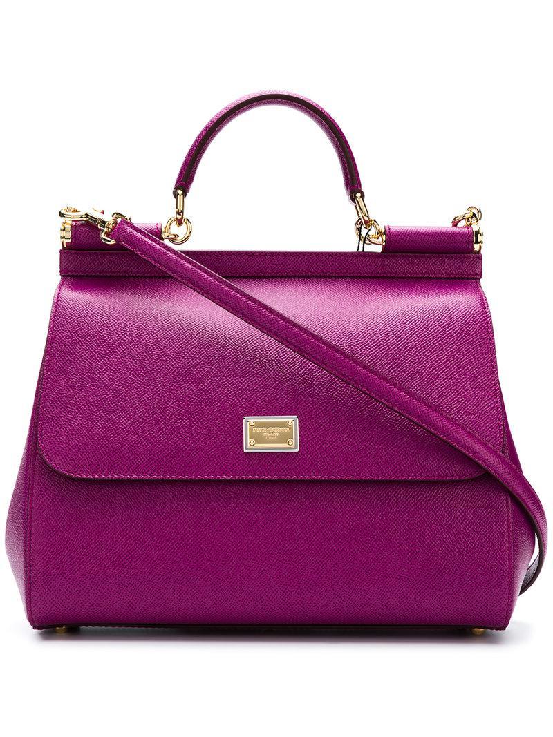 Lyst - Dolce   Gabbana Sicily Top Handle Bag in Purple 4fa3d0131ae5c