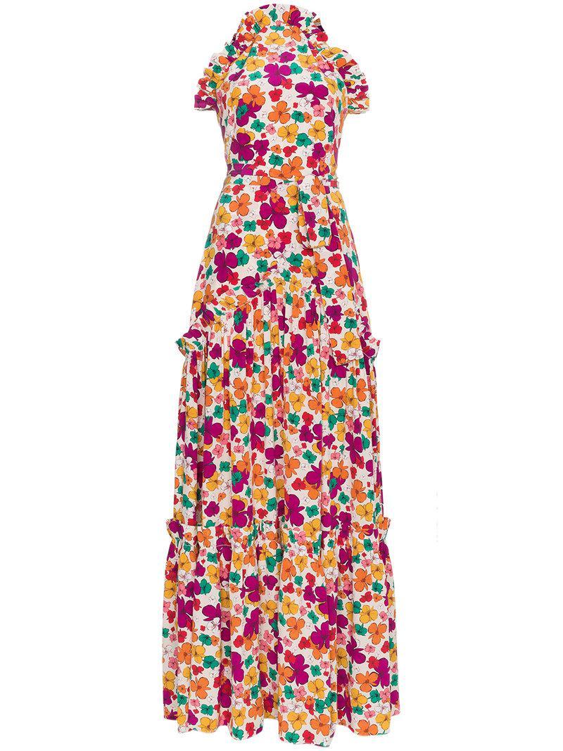 Silk floral high neck maxi dress - Multicolour Borgo De Nor mbI1YJFU