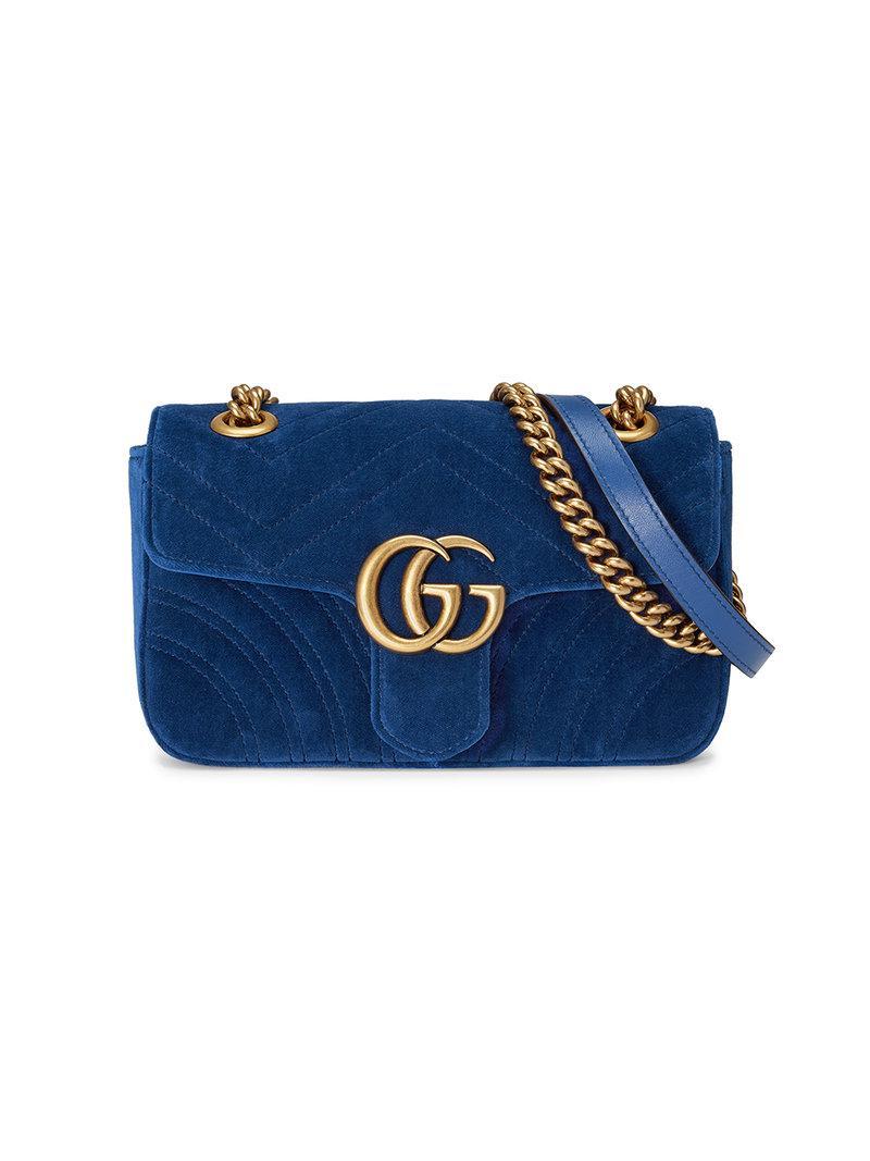 da51a387d06 Lyst - Gucci GG Marmont Velvet Mini Bag in Blue