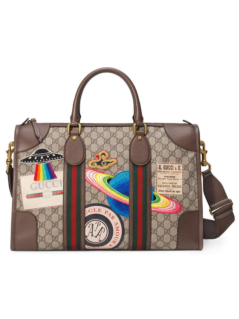 a55271dfab14 Gucci. Women's Leather Courrier Gg Supreme Duffle Bag