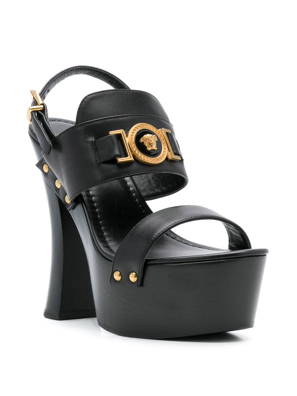 9af6e04a7ef Versace Medusa Triple-platform Sandals in Black - Lyst