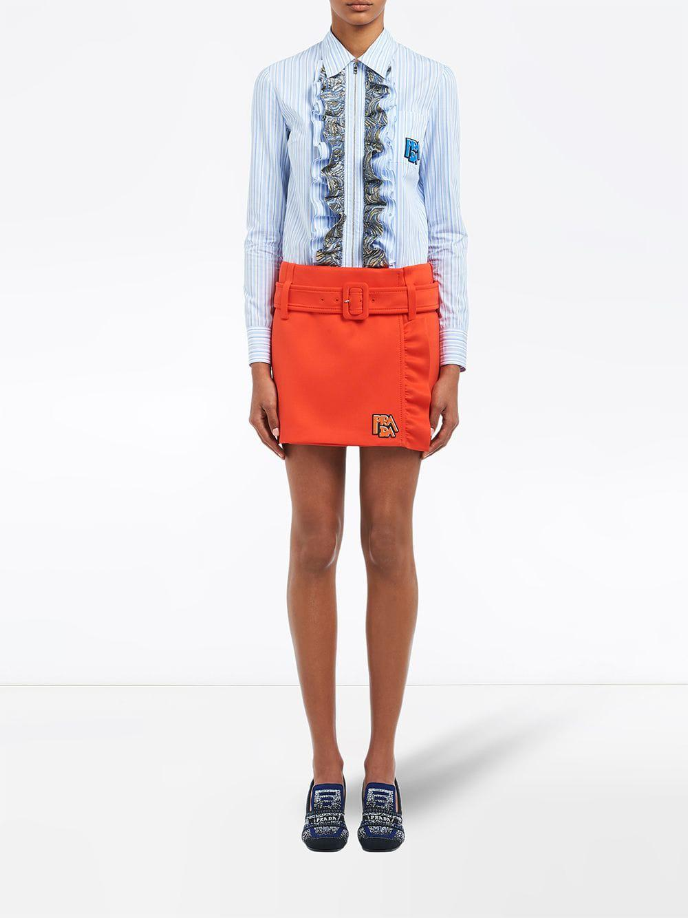 00cb2e19c2736 Lyst - Prada Ruffled Detail Mini Skirt in Orange