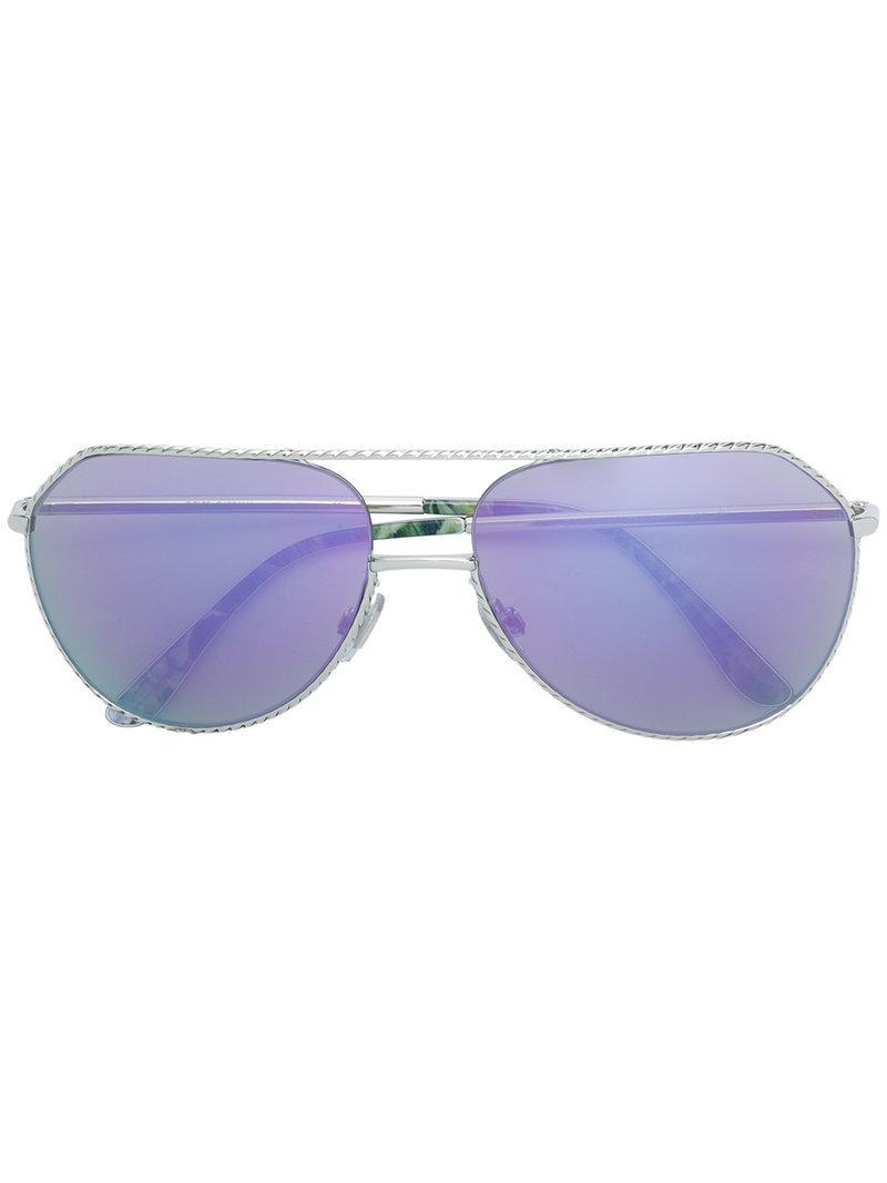 5b1cba9635 Gafas de sol con montura aviador Dolce & Gabbana de color Metálico ...