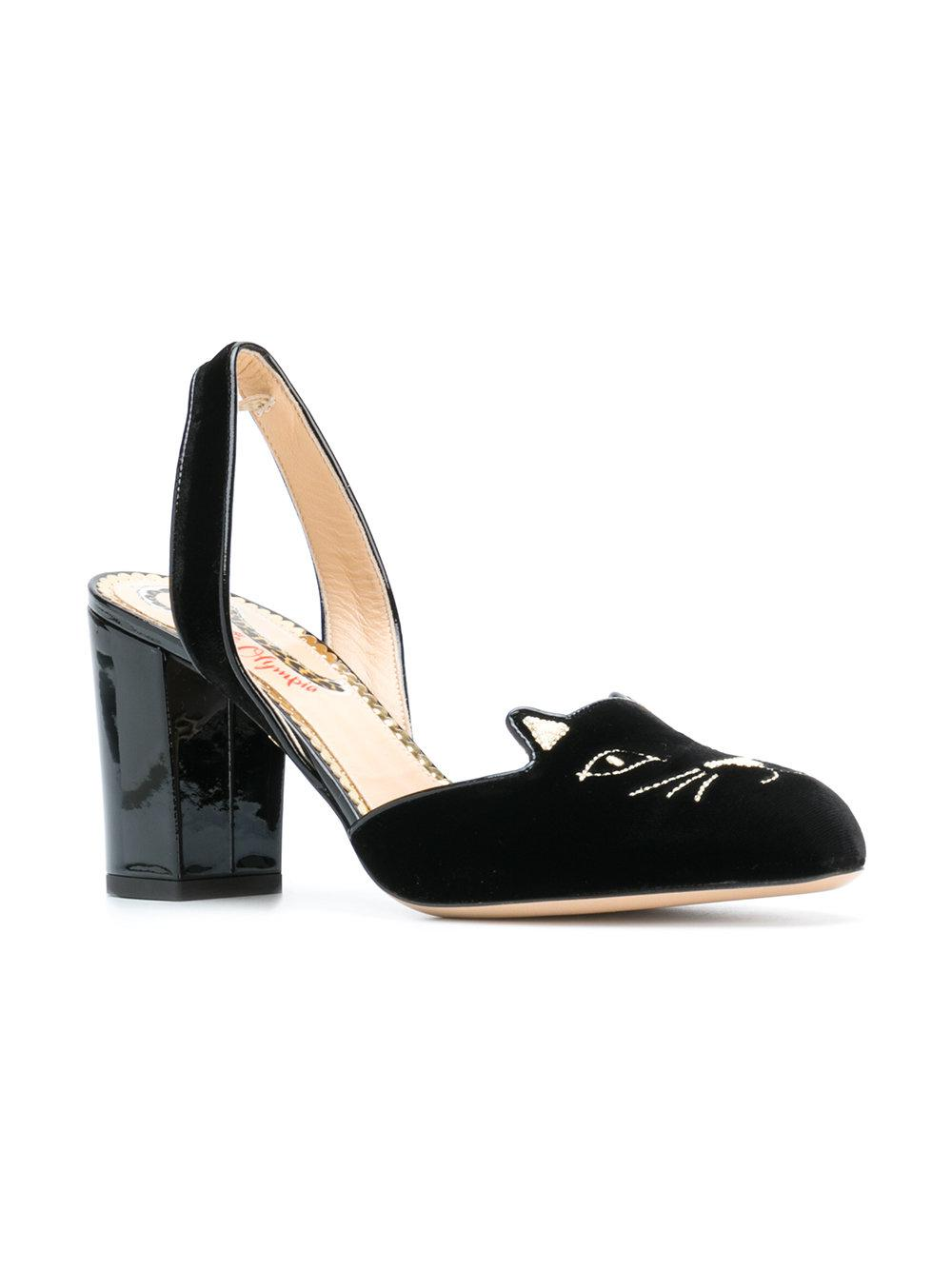 7de4a941d244 Lyst - Charlotte Olympia Kitty Slingback Pumps in Black - Save 62%
