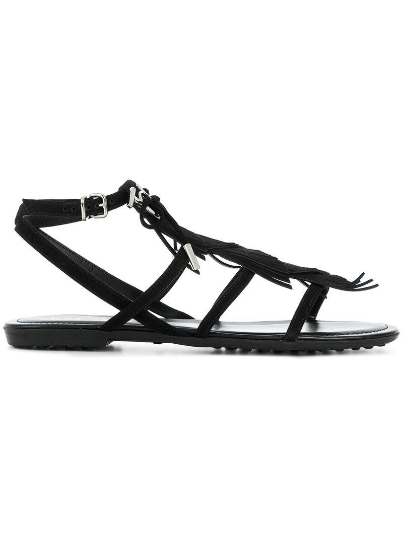 b0a054964760 Lyst - Tod s Fringed Multi-strap Sandals in Black