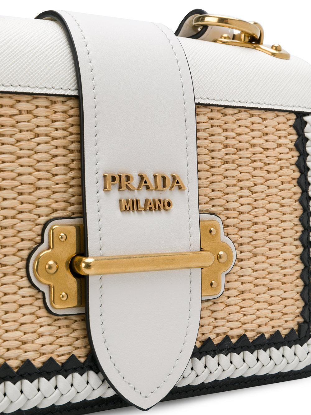 Lyst - Prada White Raffia Cahier Shoulder Bag in White 744cf7b2a4b0e