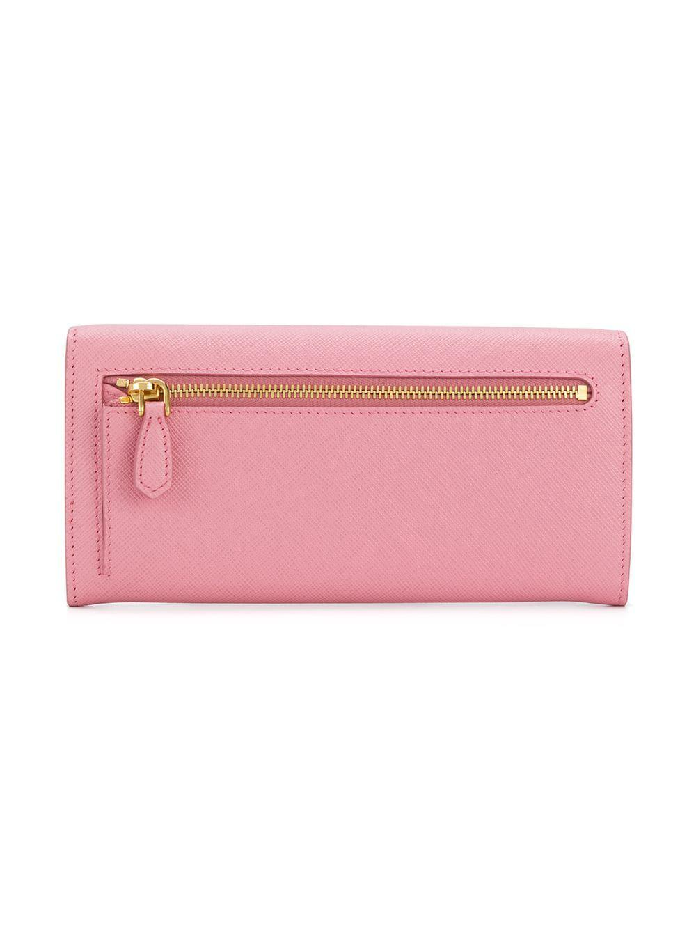 a77273a7d89b Lyst - Prada Saffiano Logo Wallet in Pink - Save 40%