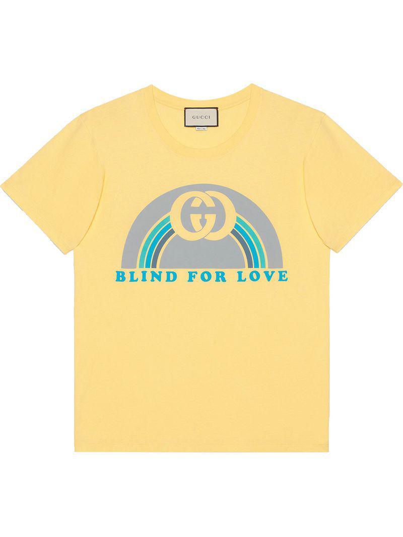 403c5b37e Gucci - Yellow Oversize T-shirt With Rainbow Print for Men - Lyst. View  fullscreen