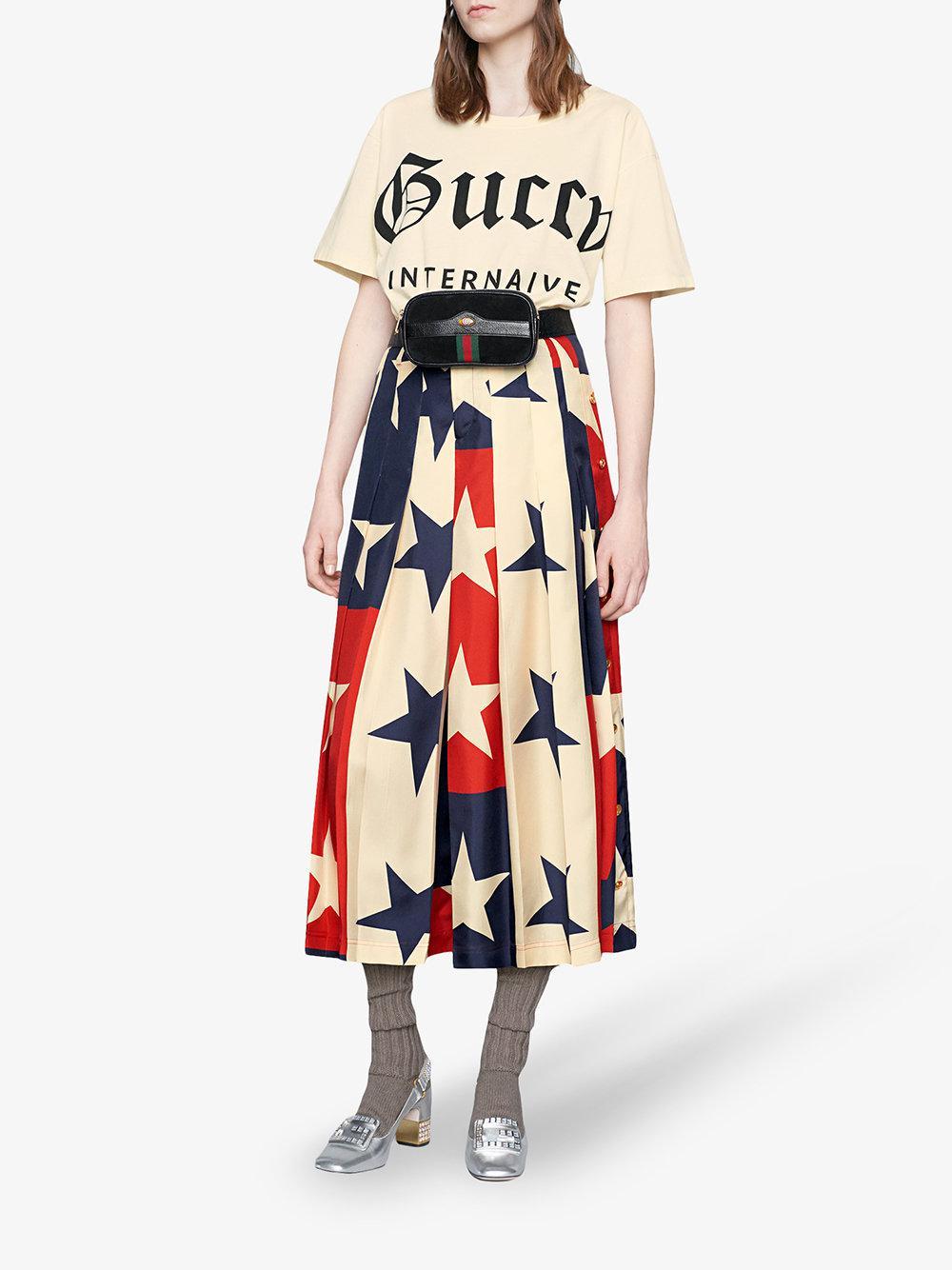 b068a106b3f Lyst - Gucci Ophidia Web Suede Belt Bag in Black