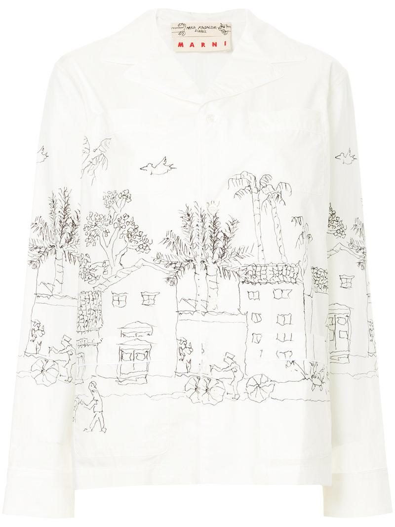 24408f98c5 Lyst - Marni Illustrated Pyjama Shirt in White