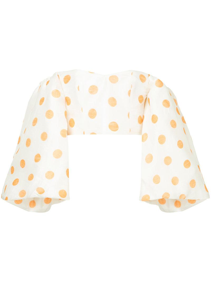 9506a747137586 Bambah Globo Polka Dots Blouse in White - Lyst