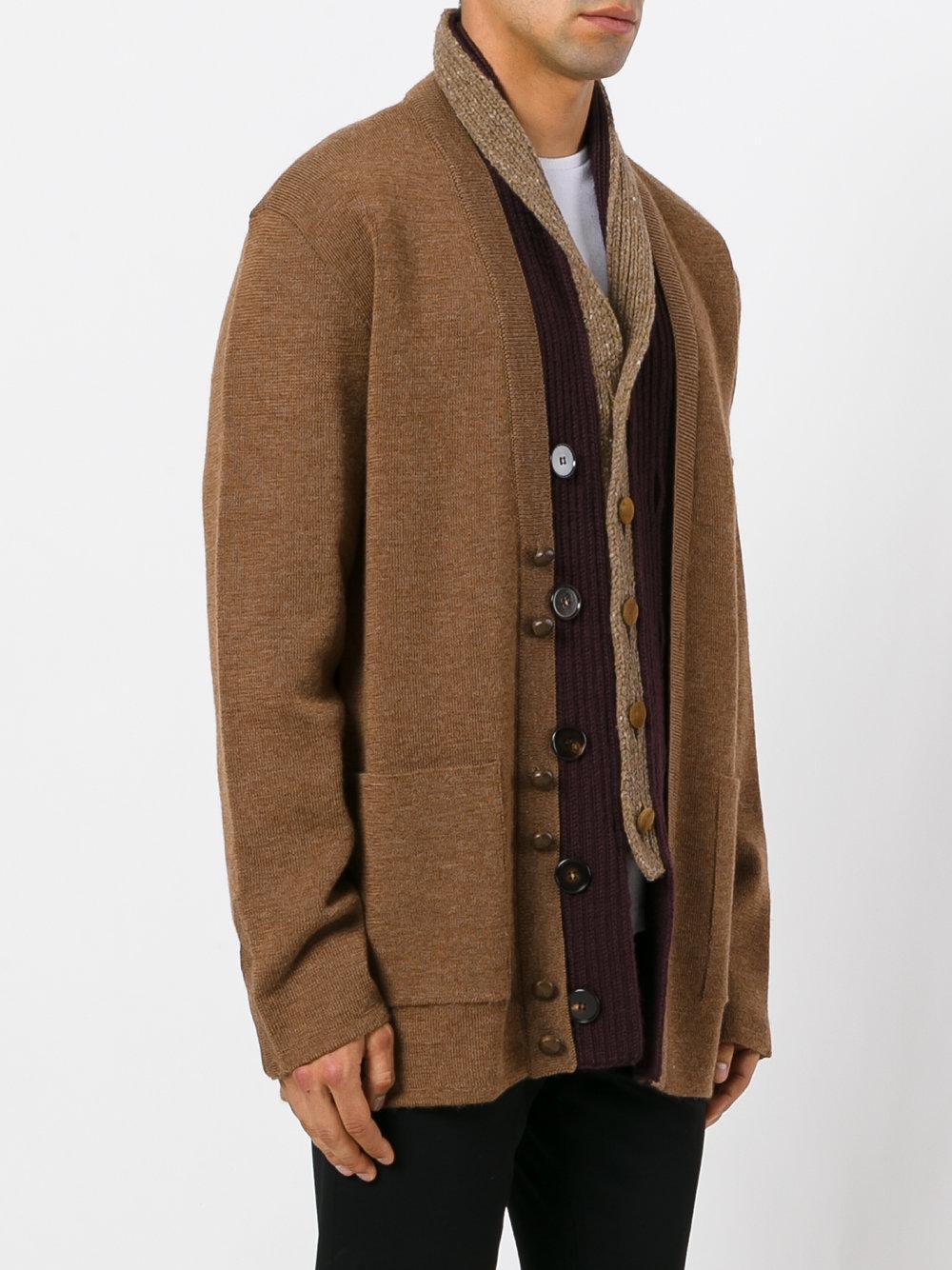 Maison margiela Shawl Collar Cardigan in Brown for Men