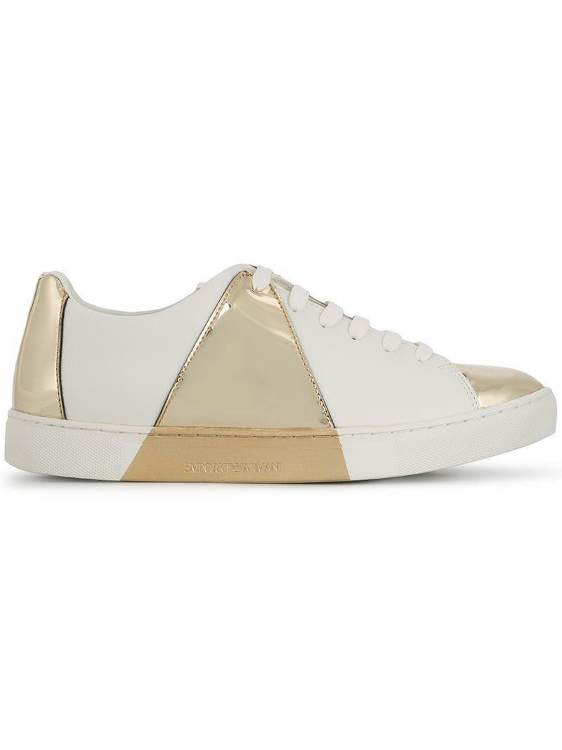 d8c070c14b5e Lyst - Emporio Armani Classic Sneakers With Mirror Detail in White