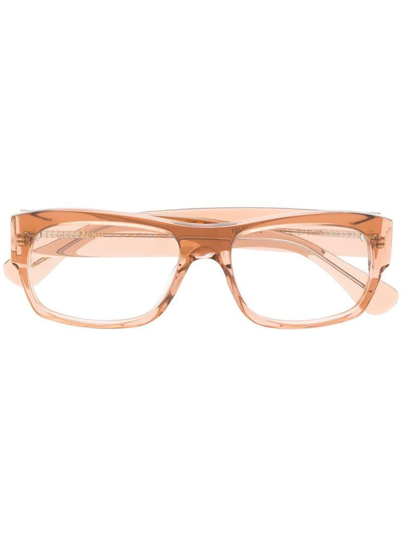 500a786517 Lesca Rectangle Frame Glasses in Brown - Lyst