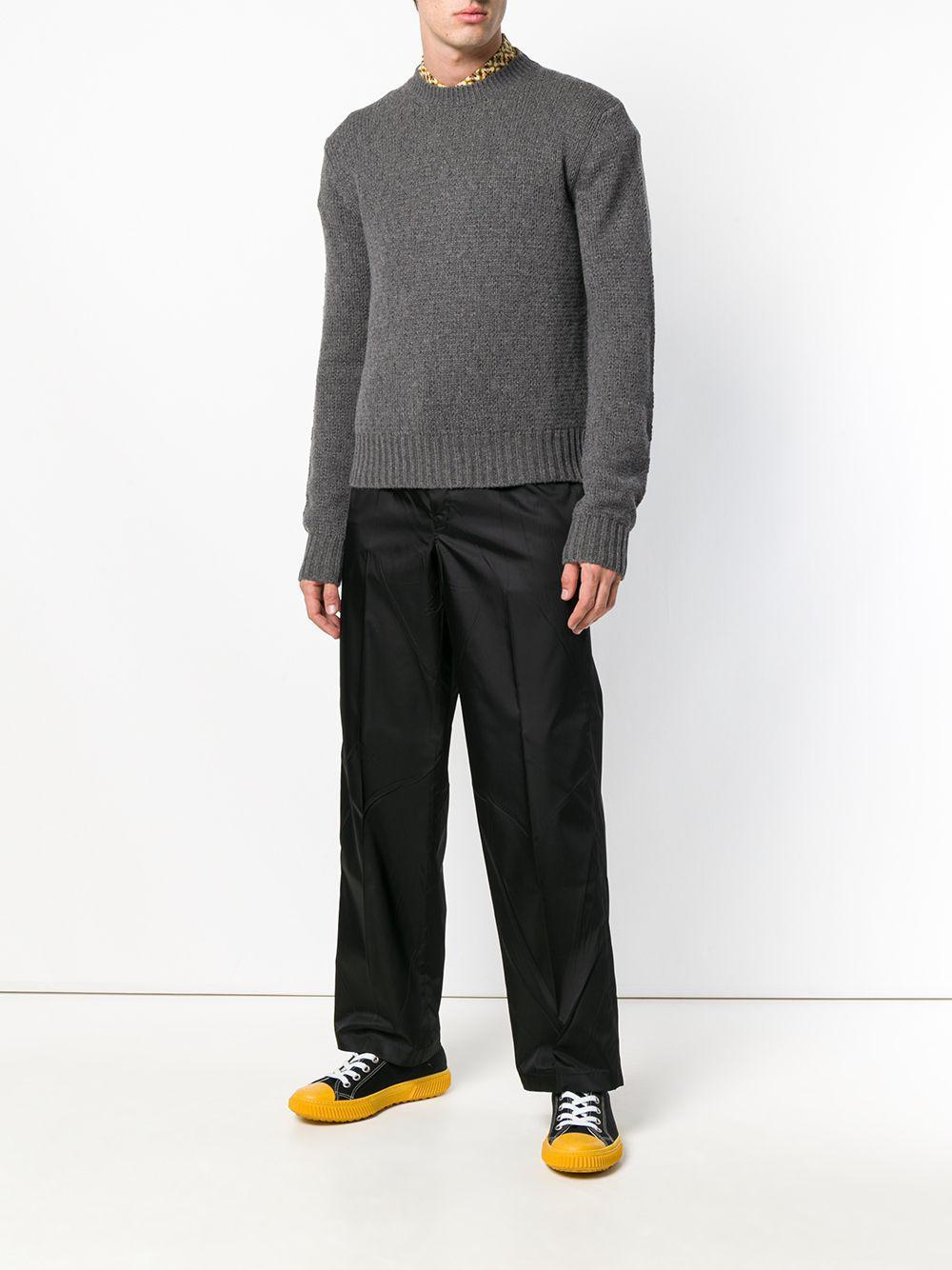 75fc87906816 Lyst - Prada Collar Insert Sweater in Gray for Men
