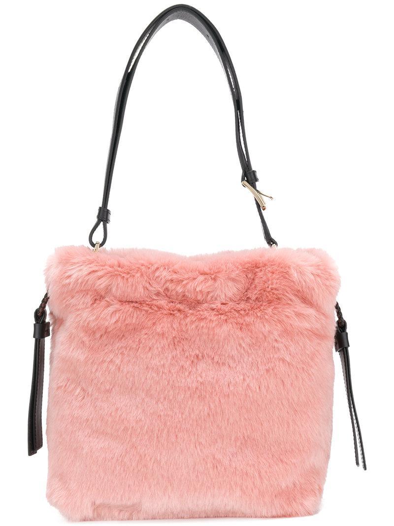 Lyst - Furla Faux Fur Bucket Bag in Pink d274d9c556602