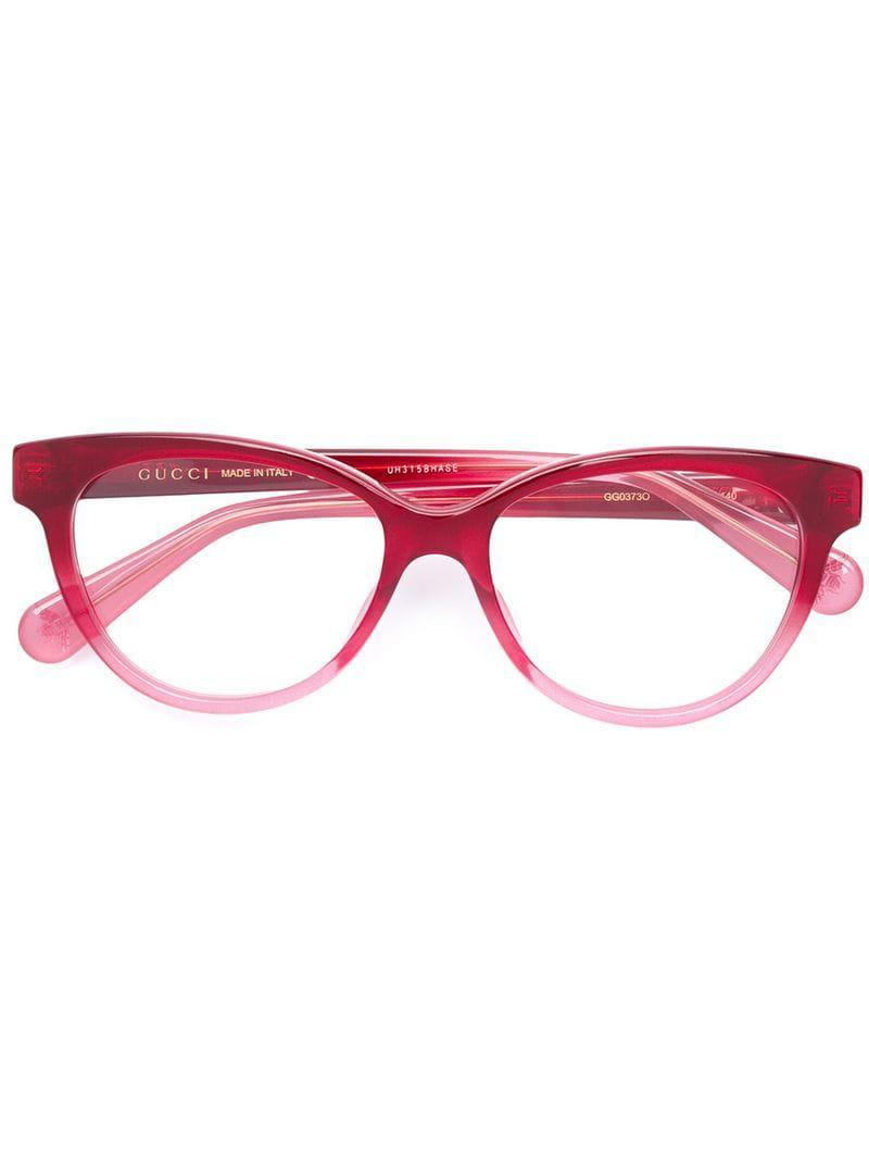 ba872738b4f Gucci Cat Eye Glasses in Red - Lyst