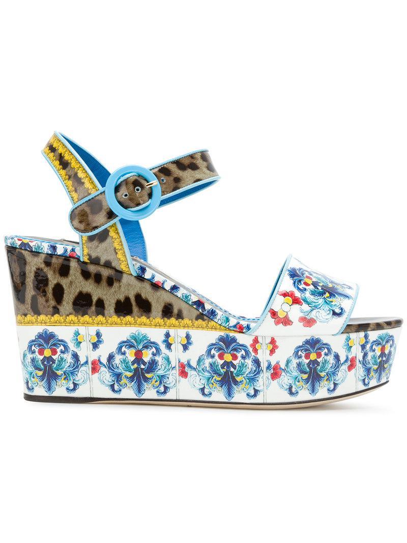aa8ceab80e2e Lyst - Dolce   Gabbana Printed Platform Sandals in Blue